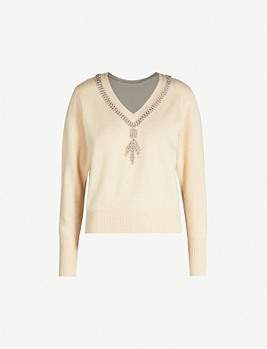 SANDRO Crystal-embellishment wool jumper