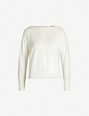SANDRO Embellished-detail wool-blend jumper