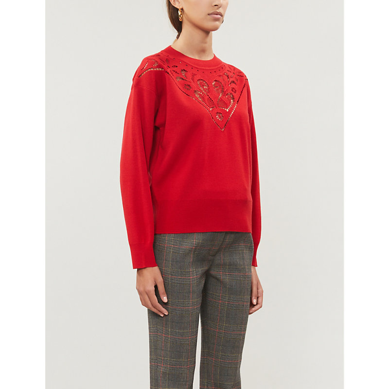Sandro Tops CUT-OUT WOOL-BLEND JUMPER