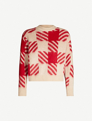 SANDRO Ginn checked stretch-knit jumper
