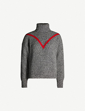 SANDRO Contrast-detail turtleneck wool-blend jumper
