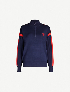 SANDRO High-neck logo-embroidered woven jumper