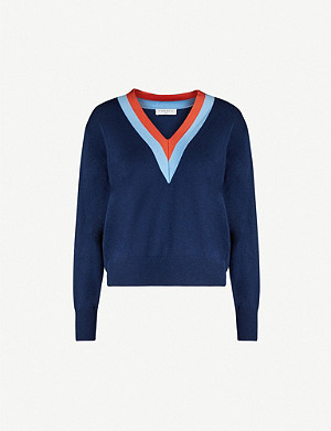 SANDRO V-neck wool and cashmere-blend jumper