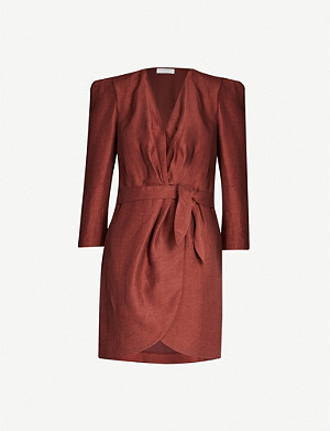 SANDRO Puffed-shoulder wrap dress