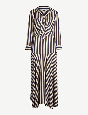 SANDRO Knotted-front striped crepe dress