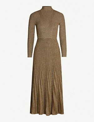 SANDRO Pleated-skirt metallic knitted dress