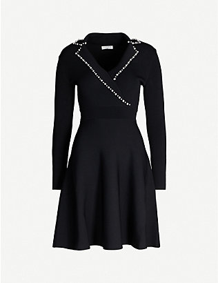 SANDRO: Embellished stretch-knit dress