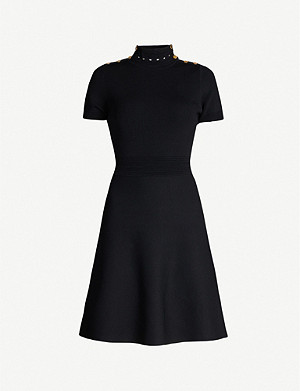 SANDRO Buttoned-shoulder knitted dress
