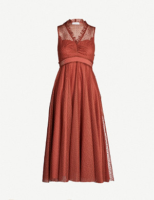 SANDRO Frilled embroidered tulle dress