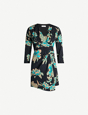 SANDRO Printed wrap-over satin mini-dress