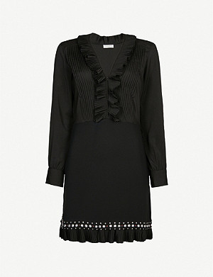 SANDRO Embellished-panel ruffled crepe mini dress