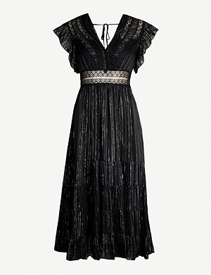 SANDRO Dona embellished silk-blend dress
