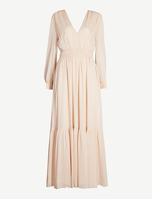 SANDRO Chaireen V-neck crepe midi dress