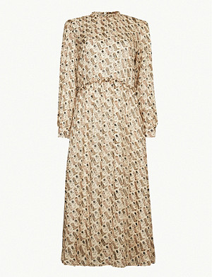 SANDRO Boot-print silk-blend midi dress