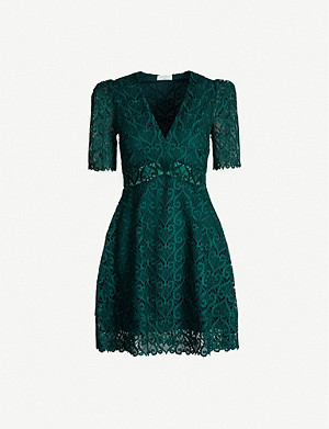 SANDRO Fit-and-flare guipure lace mini dress