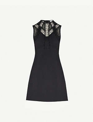 SANDRO Lace-insert crepe mini dress
