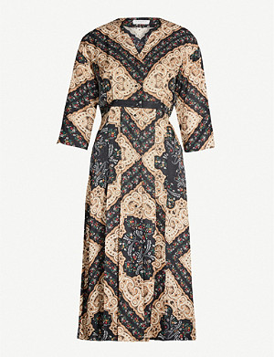 SANDRO Paisley and floral-print woven dress