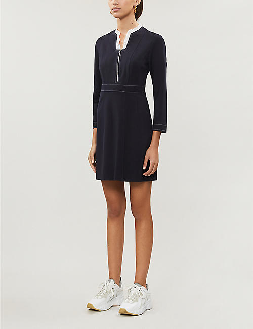 SANDRO Ruffle-embellished neoprene mini dress