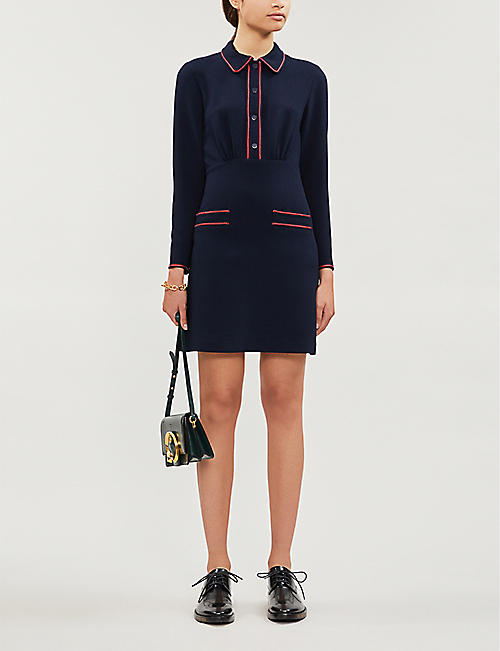 SANDRO Contrast-piping crepe mini dress