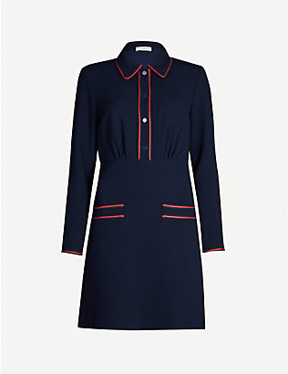 SANDRO: Contrast-piping crepe mini dress