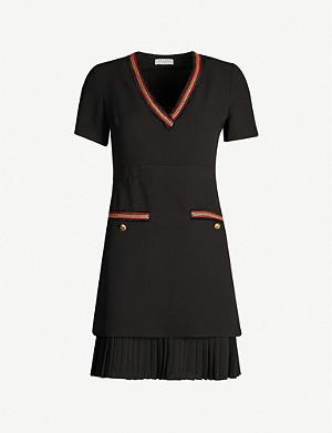 SANDRO Metallic-trim pleated crepe dress