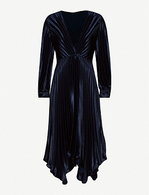 SANDRO Pleated crepe midi dress