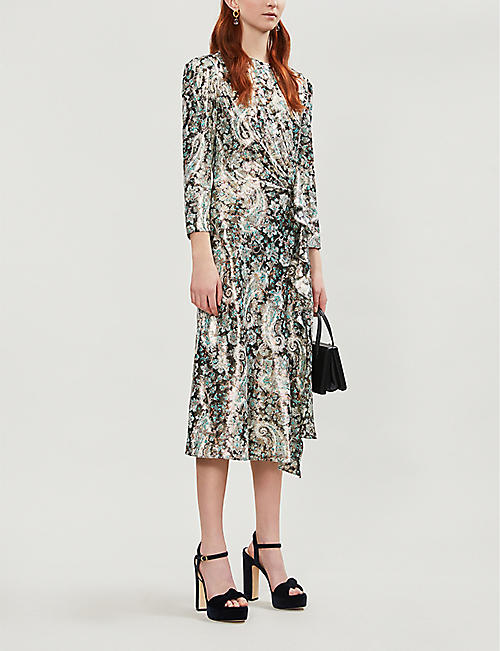 SANDRO Paisley-print metallic woven midi dress