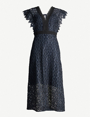 SANDRO Emeline lace midi dress