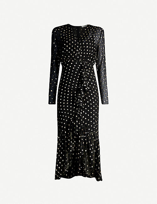 SANDRO Loona polka dot-pattern woven midi dress