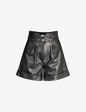 SANDRO Quilted-trim leather shorts