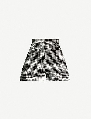 SANDRO Houndstooth high-rise cotton and wool-blend shorts