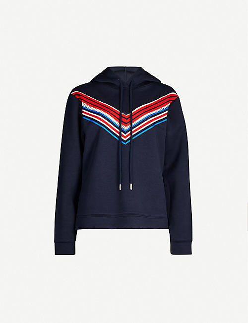 SANDRO Kyle striped-panel jersey hoody