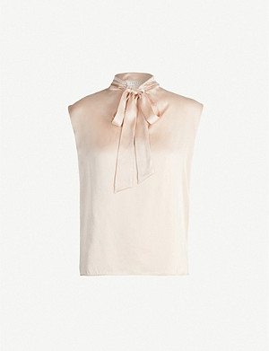 SANDRO Neck-tie silk-satin shirt