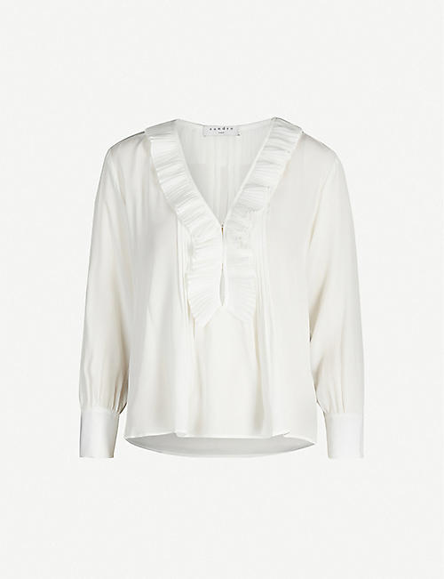SANDRO: Andi frilled silk blouse