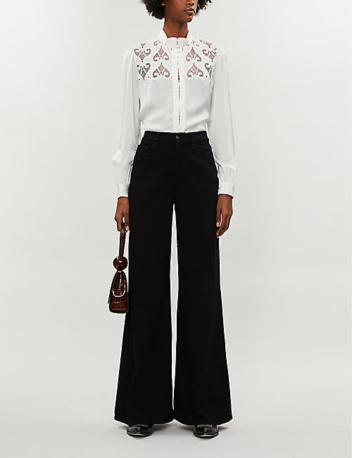 SANDRO Lace-embroidered relaxed-fit satin shirt