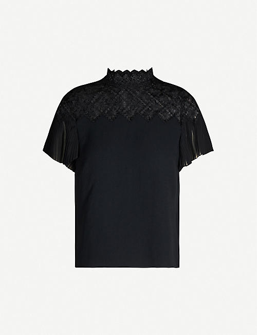 SANDRO Lace-panelled top