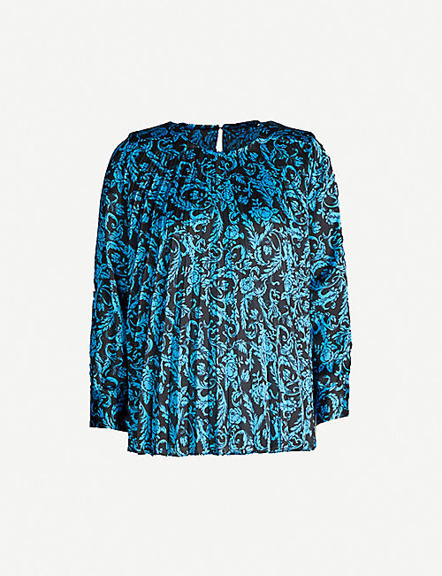SANDRO Graphic-print pleated satin top