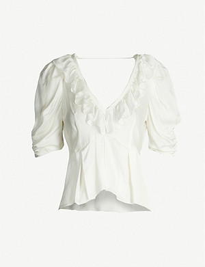 SANDRO Ruffled V-neck satin top
