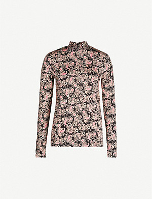 SANDRO Fidela graphic-print stretch-jersey blouse