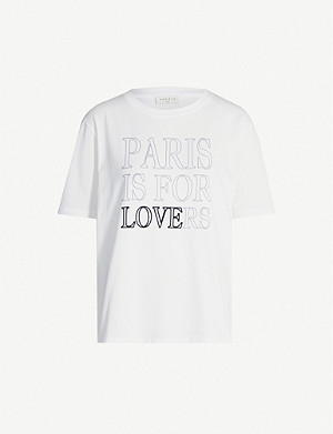 SANDRO 'Paris is for lovers' slogan cotton-jersey T-shirt