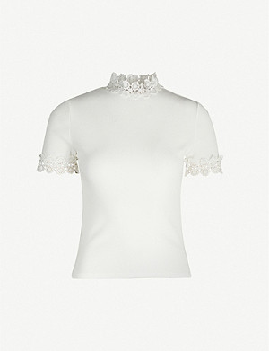 SANDRO Crochet-trim stretch-jersey T-shirt