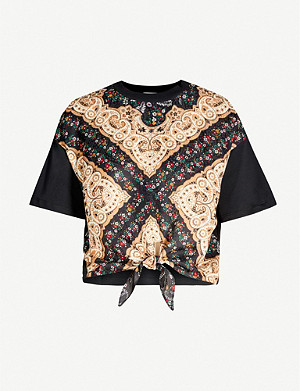 SANDRO Paisley and floral-print cotton-jersey T-shirt