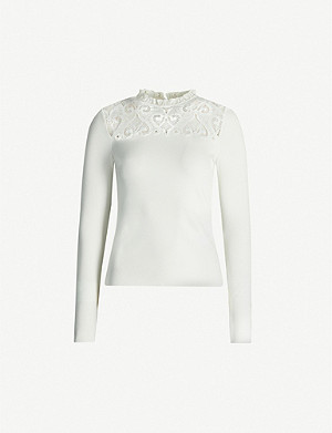 SANDRO Lace-panel knitted jumper