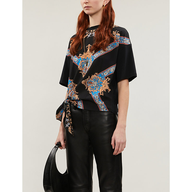 Sandro Nevana Baroque-print Cotton-jersey And Crepe T-shirt In Black