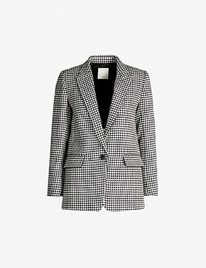 SANDRO Houndstooth wool and cotton-blend blazer