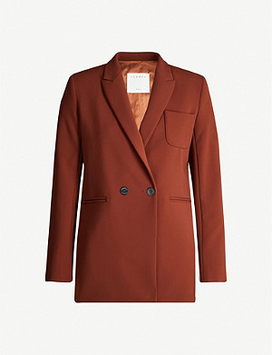 SANDRO Double-breasted stretch-crepe blazer