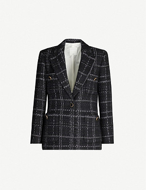 SANDRO Checked metallic woven blazer