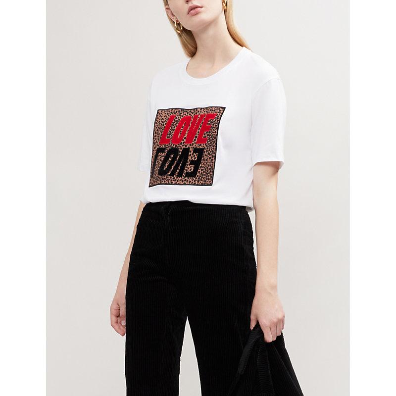Selma Love-Printed Cotton-Jersey T-Shirt, White