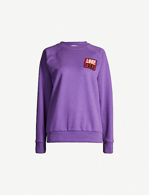 SANDRO Fatima bead-embroidered jersey sweatshirt bcf1a25e3