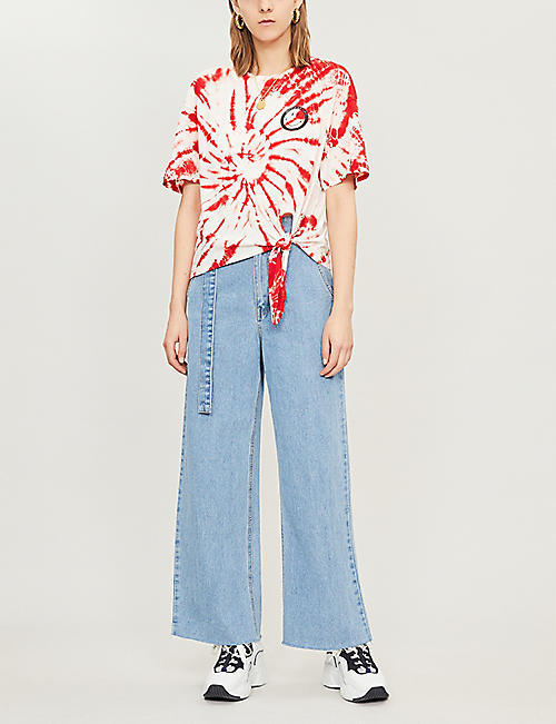 SANDRO Graphic-print knotted-hem knitted top